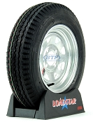Boat Trailer Tire 5.30 x 12 on Galvanized Wheel 4 Lug 1045lb by Loadstar