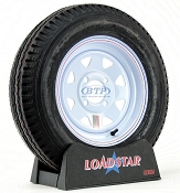 Trailer Tire 5.30 x 12 on White Painted Wheel 4 Lug Rim 1045lb by Loadstar