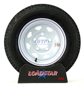 Boat Trailer Tire 5.30 x 12 on White Wheel 5 Lug 1045lb by Loadstar