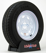 Trailer Tire ST175/80R13 Radial on White Painted Wheel 5 Lug by Loadstar