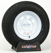 Trailer Tire ST205/75R14 Radial on White Painted Wheel 5 Lug by Loadstar
