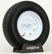Trailer Tire ST225/75R15 Radial on White Painted Wheel 5 Lug by Loadstar