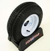 Trailer Tire 4.80 x 8 on White Painted Wheel 590lb 5 Lug Rim by Loadstar
