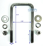 Stainless Steel Square Trailer U-Bolt 1/2 inch x 3 inch x 6 5/16 inch