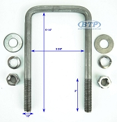 Stainless Steel Square Trailer U-Bolt 1/2 inch x 3 3/8 inch x 6 1/4 inch