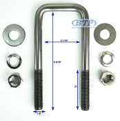 Stainless Steel Square Trailer U-Bolt 1/2 inch x 2 inch x 5 5/16 inch