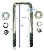 Stainless Steel Square Trailer U-Bolt 1/2 inch x 2 inch x 6 5/16 inch