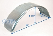 Galvanized Boat Trailer Fender Single Axle 8 inch x 28 inch x 10 inch