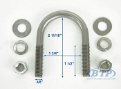 Stainless Steel Round Trailer U-Bolt 3/8 inch x 1 3/4 in x 2 11/16 in