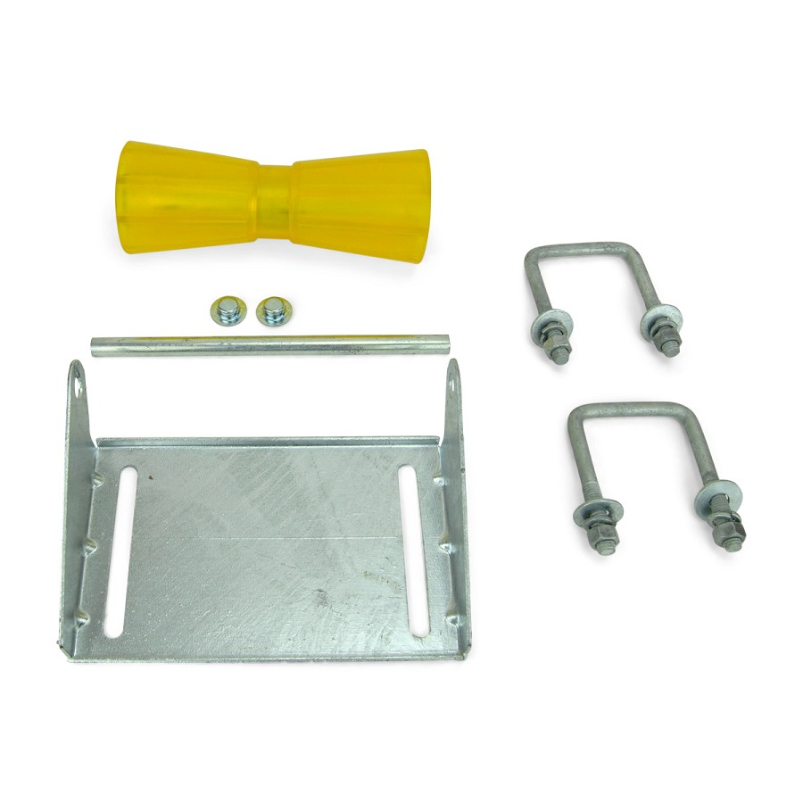 10 inch Yellow Poly Vinyl Boat Trailer Keel Roller and Bracket Kit for 3x3 Cross Members