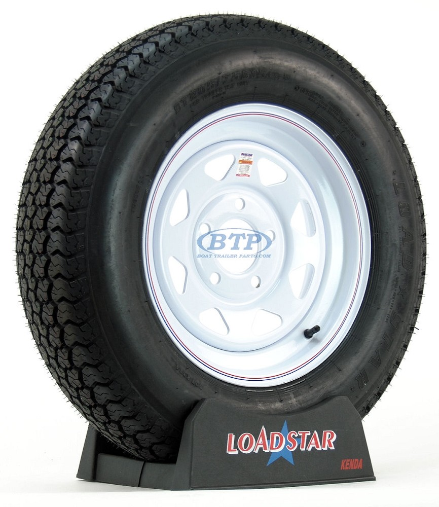 Trailer Tire ST205/75D15 Bias Ply on White Painted Wheel 5 Lug by Loadstar