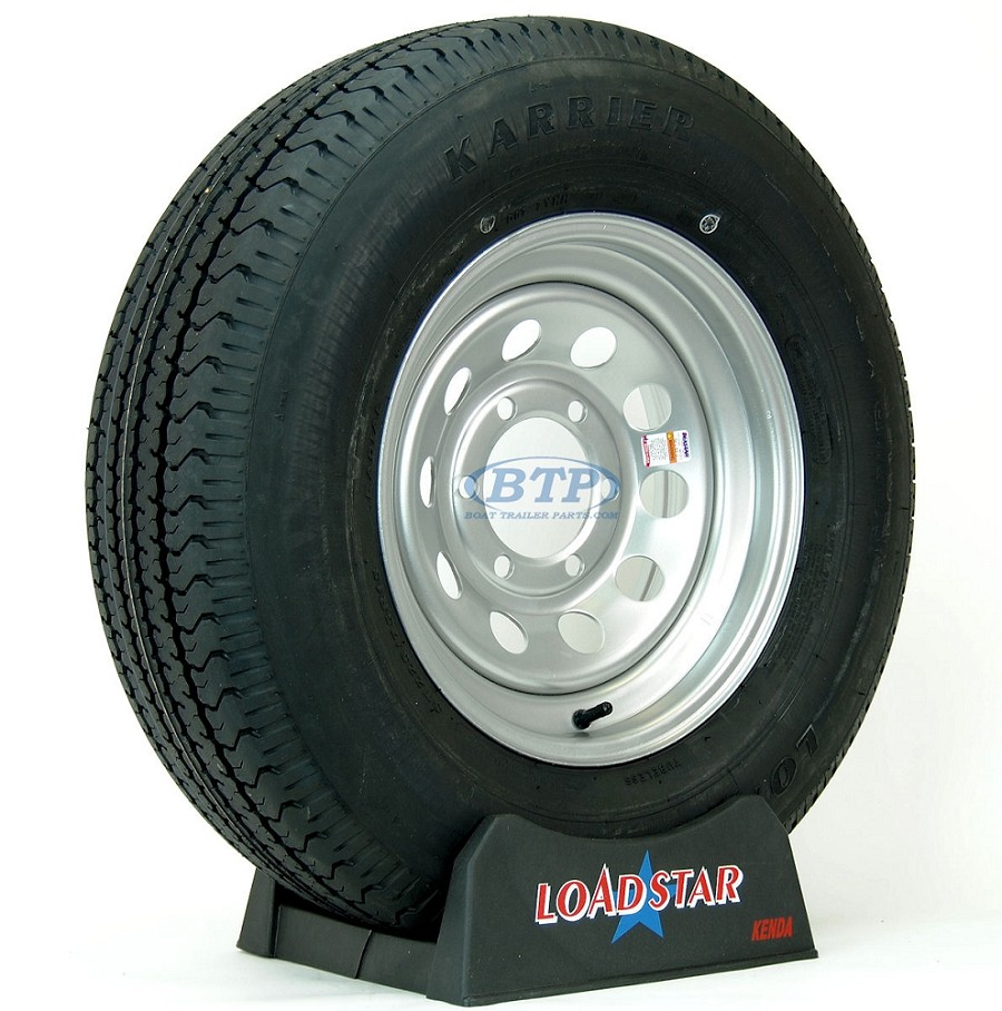 Trailer Tire ST225/75R15 Radial on Silver Modular Wheel 6 Lug by Loadstar