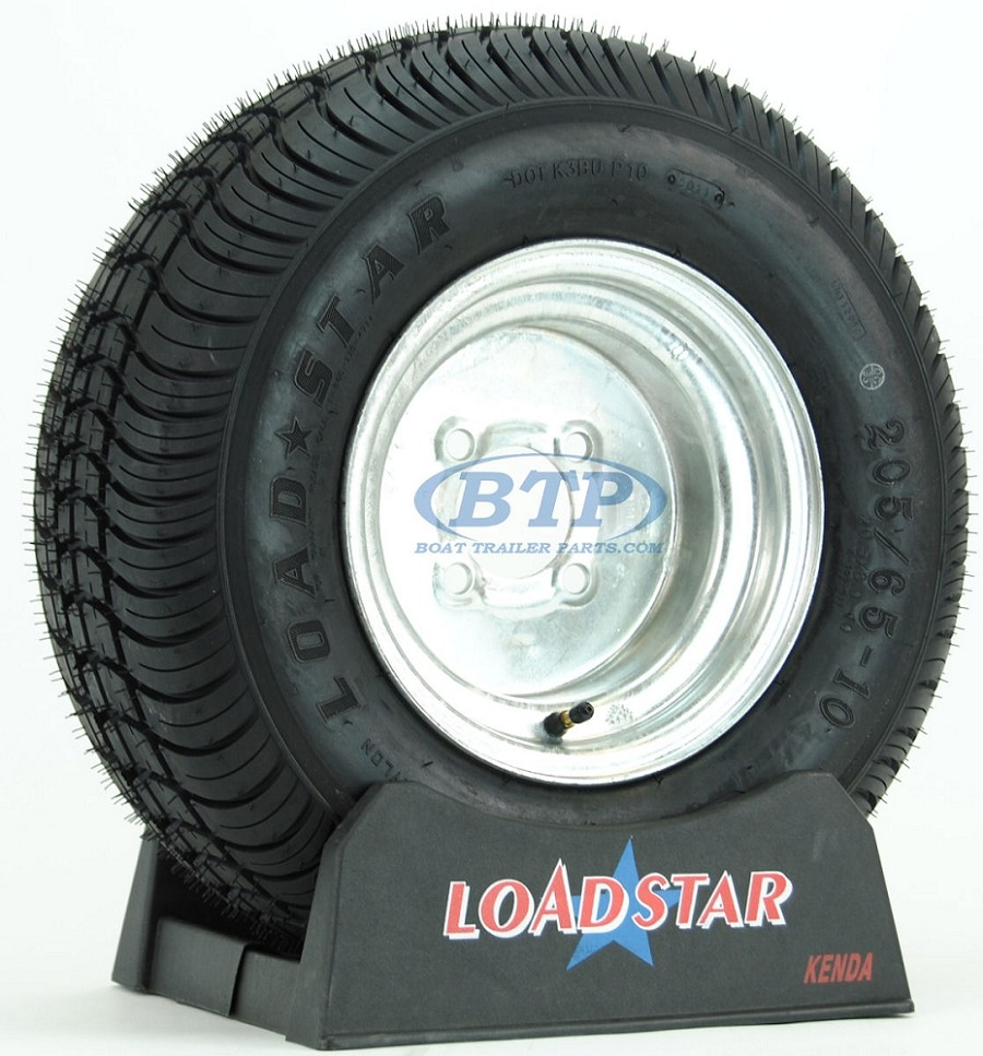 Trailer Tire 20.5x8x10 aka 205/65-10 LRC on Galvanized 4 Lug Rim by Loadstar