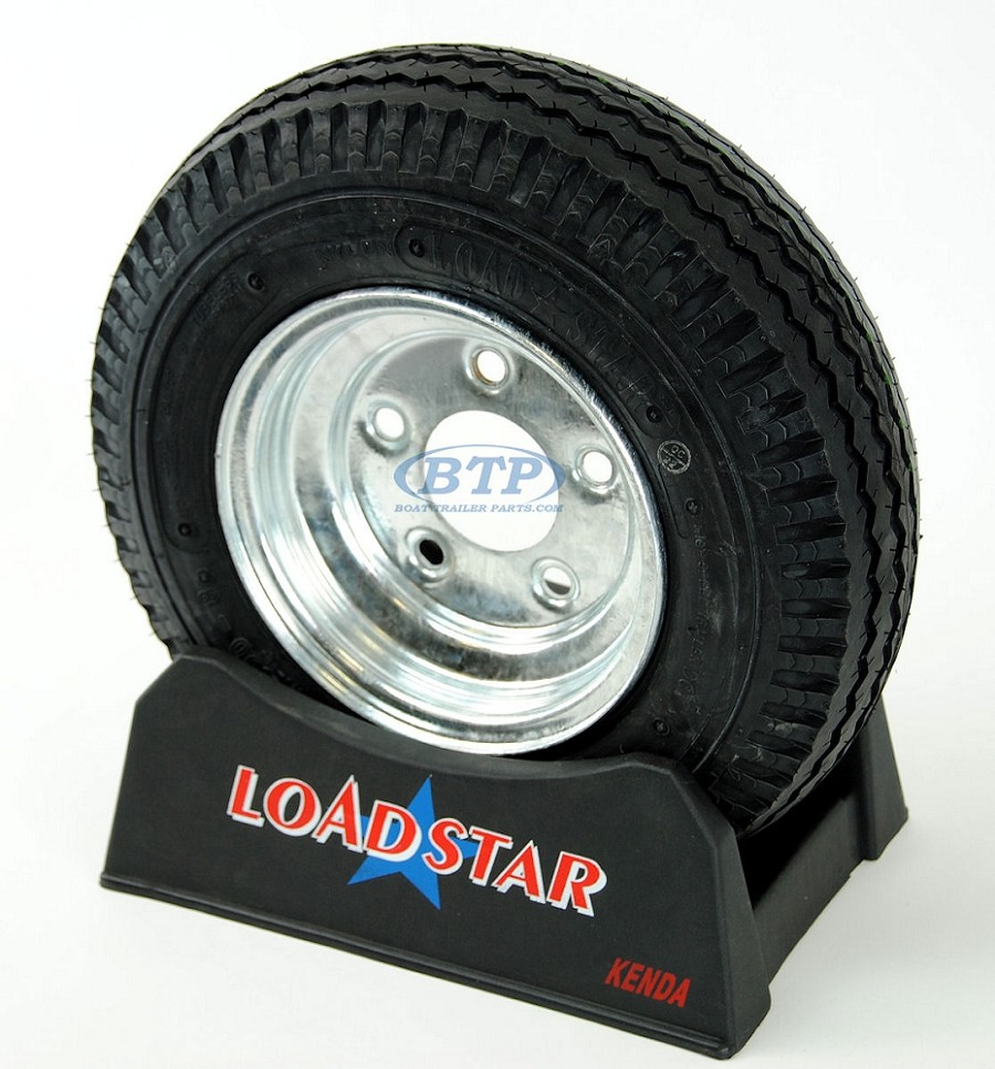 Boat Trailer Tire 4.80 x 8 on Galvanized Wheel 5 Lug Rim 590lb by Loadstar