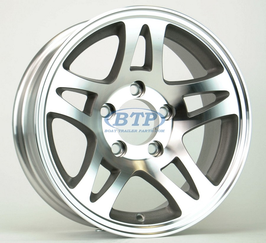 Aluminum Boat Trailer Wheel 14 inch Split Spoke 5 Lug 5 on 4 1/2 Rim