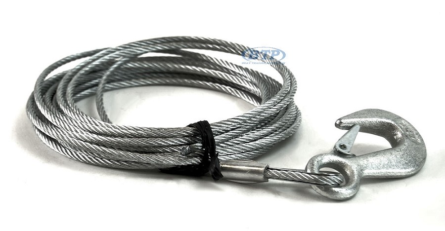 Boat Trailer Winch Cable Galvanized 3/16in x 25ft with Hook