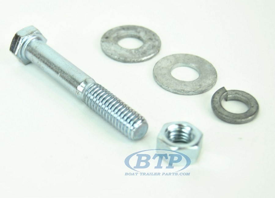 3/8 inch Diameter by 2 1/2 inch Long Zinc Plated Trailer Bolt