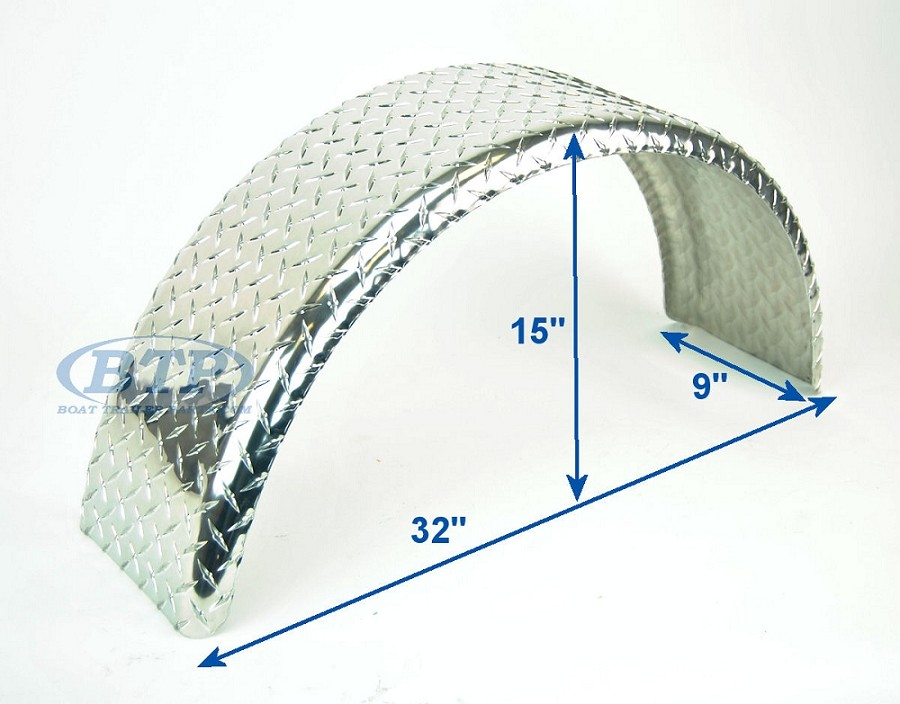 Aluminum Diamond Plate Round Boat Trailer Fender Single Axle 32 inch