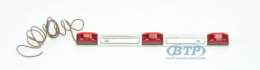 Red LED Light ID Bar Submersible Stainless Steel Backing for Boat Trailer