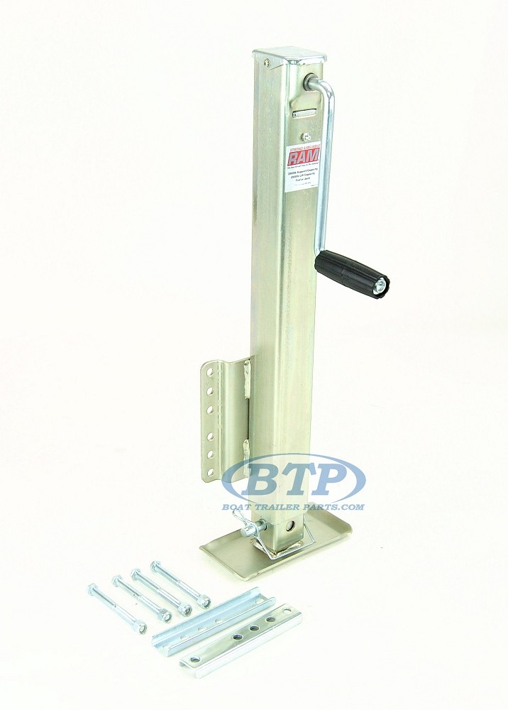 Trailer Drop Foot Jack 2500lb Capacity Zinc Plated with Installation Hardware